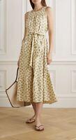 New Doen Yellow Floral Tiered Raw Silk Midi Dress Medium (UK 10/12)