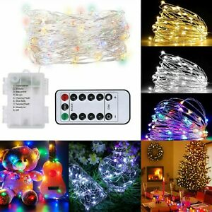 Battery Operated Fairy String Lights Outdoor Christmas Tree or with Timer Remote
