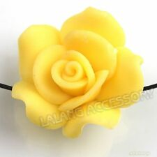 20pcs Yellow Rose Flowers Charms Flatback Polymer Clay Spacer Beads Pure Color D