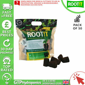 Root it Natural Rooting Sponges x50 - ROOT!T Propagation Cubes Refill Peat Bark