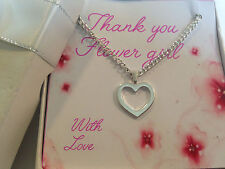 Wedding Thank You Gift for Bridesmaid Flower Girl silver heart Necklace gift box