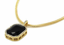 "Men 14k Gold Plated Iced Out Black Ruby Octagon Pendant Hip-Hop 24"" Franco Chain"