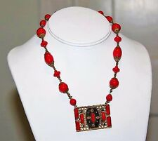 Antique Art Deco MAX NEIGER Bright Red Glass Bead Black Enamel Necklace ND10
