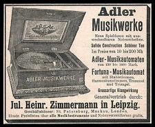 Alte Werbung 1900 Adler Musikwerke Musikautomaten Fortuna-Musikautomat