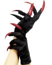 Halloween Gloves With Red Glitter Nails One Size