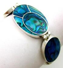 Natural Blue Paua Abalone Shell 925 Sterling Silver Bracelet Women Jewelry SB080