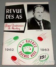 1962-63 AHL Quebec Aces Program Floyd Curry Cover