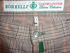 Rare LUIGI BORRELLI Mens Luxury Vintage Khaki Denim Pants   Plaid  Size 34  Tall