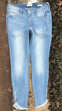 Jessica Simpson Super Skinny Kiss Me Frayed Ankle Zip Jeans - Pierce/ Sz 10 (30)
