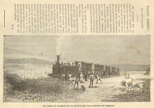 ALGERIE TRAIN BLOQUE PAR LES CRIQUETS LOCUST ARTICLE PRESSE 1888