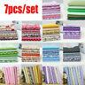 7Pcs DIY Colourful 100% Cotton Fabric Assorted Pre-Cut Fat Quarters Bundle Lot