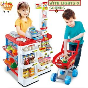 Kids Supermarket Set Superstore Playset Shop Toy Shopping Game with Sound Lights