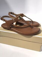 Michael Kors MK Plate Flat Thong Tan Leather Sandals (Size 8M)