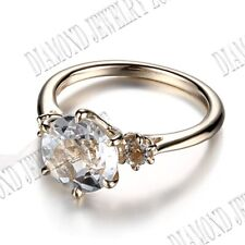 Noble Solid 10K Yellow Gold Prong Setting Flawless White Topaz Engagement Ring