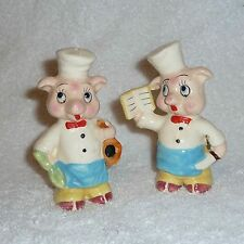 Vintage Pig Chef Cooks Anthropomorphic Salt and Pepper Shakers LARGE Figurines