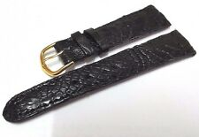 20mm Genuine Crocodile Alligator Skin Leather Watch Strap Watch Band Black Real