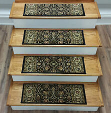 "Rug Depot 14 Traditional Carpet Stair Treads 26"" x 9"" Staircase Rugs Black Poly"