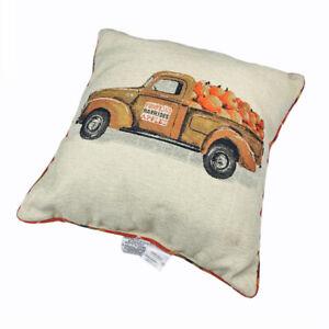 "Pumpkin Truck Autumn Fall Harvest 20"" Square Pillow Reversible Plaid Print"