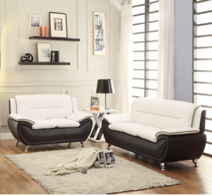NEW 2PC Sofa Couch Loveseat Set Black White Faux Leather Modern Living Furniture