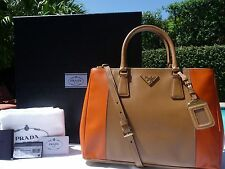 PRADA Bicolor Saffiano Lux Double-Zip Tote Bag Brown/Orange (Carmel/papaya) NWT