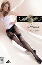MOCK SUSPENDER STOCKINGS TIGHTS Patterned Tights Lumia 40 denier Black S M L