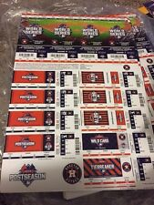 2015 HOUSTON ASTROS FULL PLAYOFF WORLD SERIES TICKET STRIP SHEET STUB ROYALS