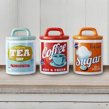 Vintage 60s Retro Style Ceramic Tea Coffee Sugar Canisters Storage Jar Set 3 NEW
