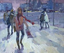 Winter evening city snow cityscape by AVDEEV Original RUSSIAN oil Painting