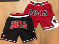 Chicago Bulls RED Throwback Just Don Mens Stitched Basketball Shorts Bulls FRONT