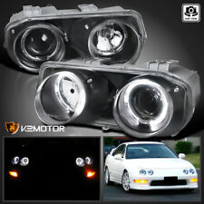 For Black 1994-1997 Acura Integra Led Halo Projector Headlights Lamps Left+Right (Fits: Acura Integra)