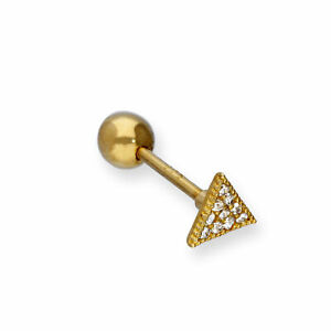 Real 375 9ct Gold & Clear CZ Crystal Flat Triangle Tongue Stud Mouth Piercing