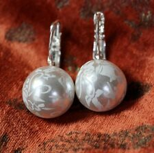Boucles d'Oreilles Perle Blanche Fleur Dormeuse Classique Mariage Cadeau FF 2