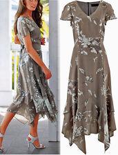 Apartes Kleid mit Blumendruck/Zipfelsaum Gr.48 braun bedruckt Neu 979555