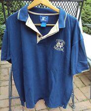 Men's Vintage Starter Notre Dame Fighting Irish Polo Shirt Size Large Blue