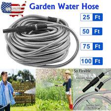 Stainless Steel Metal Garden Hose Water Pipe 25/50/75/100FT Flexible Lightweight