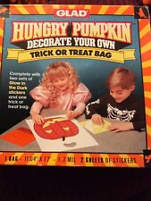 Vintage Hungry Pumpkin Trick Or Treat Bag. By Glad. Decorate Your Own. 1991