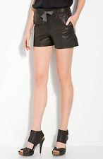 VINCE Leather Shorts Pockets & Drawstring on Waist Dark Bronze Mini Shorts sz 0