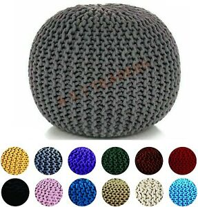 KNITTED POUFFE LARGE CHUNKY FOOT STOOLS CUSHION BEANS 50CM MOROCCAN 100% COTTON