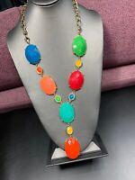"Ladies  Multi Colored XLarge Bib Statement Necklace Blue Yellow orange green 32"""