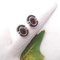 Granat oval rot red Design Ohrringe Ohrstecker Stecker 925 Sterling Silber neu