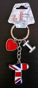 Union Jack Inital Letter Key Ring letter T Heart Sterling Products
