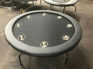 "52"" ROUND PROFESSIONAL POKER TABLE W/ JUMBO STEEL CUP + COVER [BLACK]"
