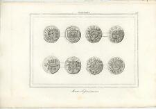 ANTIQUE 1847 ART ENGRAVING PRINT OF ENGLAND SAXON COINS DATING FROM 448 TO 1066