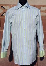 New Custom Tommy Hilfiger Green/Blue/White Pinstripe 2-Cufflink Medium Shirt