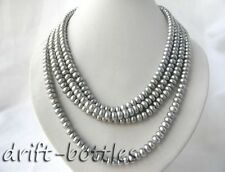 4Strands 18'' Flat Round Gray Freshwater pearl Necklace