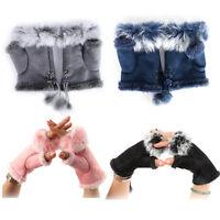 Women's Winter Real Rabbit Fur Glove Hand Wrist Warmer Fingerless Winter Gloves