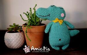 Amicitia - Handmade Amigurumi Crocheted Stuffed Animal Toy - Alligator