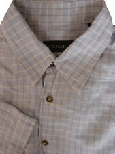 CANALI SHIRT MENS 16.5 L LIGHT BLUE - GREY CHECK SHORT SLEEVE