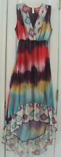 NEW! SWEET PEA by STACY FRATI SMALL 4/6 SHEER IKAT PATTERN HIGH LOW LONG DRESS