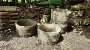 Vintage Concrete / Stone Barrel Design Garden Pot Planters Garden Decor